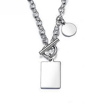 Women Necklace Geometric Men Women Round Square Plate Titanium Steel Pendant For Birthday Gift