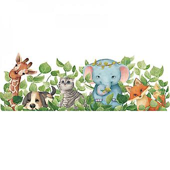 Animals In The Leaves Wall Sticker Decal (size:112cm X 38cm)