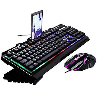 (Black) Rainbow LED Gaming Keyboard & Mouse Set Backlit Wired USB For PC PS4 Xbox One 360