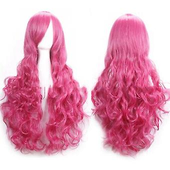(Rose) Woman Long Curly Wigs Cosplay Halloween Costume Anime Hairs Wavy Full Wig Hair