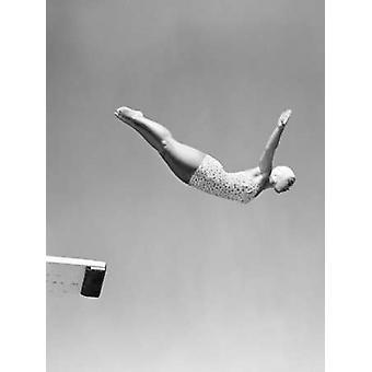 1950-luvun nainen joutsen pulahdus pois ponnahduslauta Juliste Tulosta nimetön