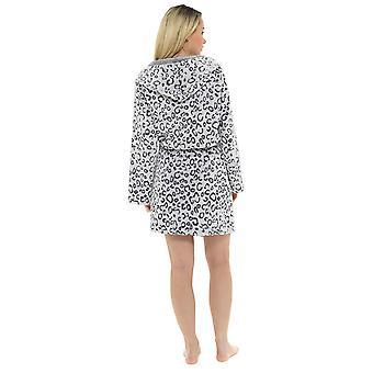 Ladies Leopard Hooded Design Fleece Bathrobe Grey UK 20-22