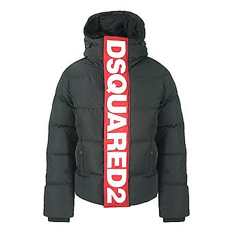 Dsquared2 Stor Rød Vertikal Logo Svart DunJakke