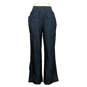 DG2 door Diane Gilman Women's Pants Smocked Palazzo Blue 656627