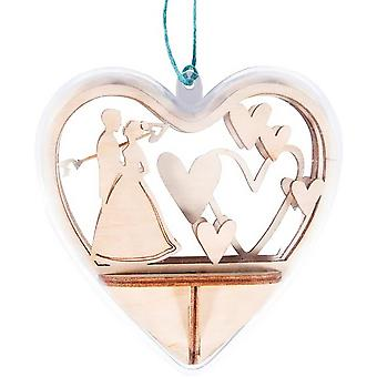 3D 10cm Wooden 'Wedding' Heart Plastic Bauble Craft Kit   Makes One