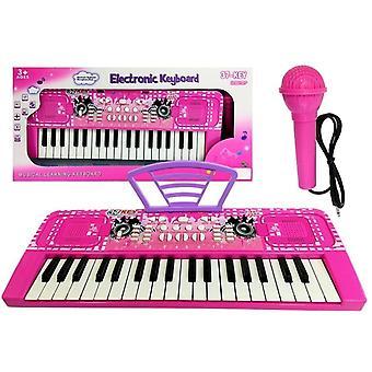 Detská klávesnica - Ružová - s mikrofónom - 43 cm