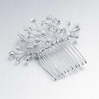 Elegant Crystal & Faux Pearl Spray Design 3.5cm Metal Hair Comb