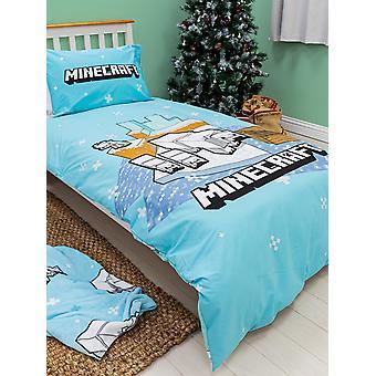 Minecraft Polarbear Panel Single Duvet Cover and Pillowcase Set