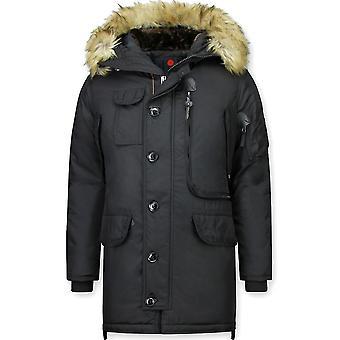 Winter coats - Winter coat Lang - Artificial collar - Parka JK - Black