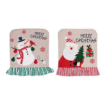 2pcs קישוט חג המולד סנטה שלג כיסא כיסוי