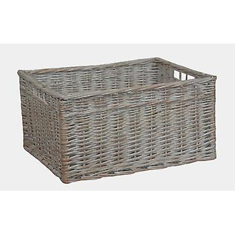 White Wash Storage Wicker Open Basket Small