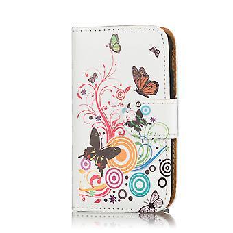 Progettazione portafoglio custodia in pelle per Alcatel Pixi 3 (4,5 pollici) - farfalla di colore
