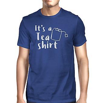 それは茶シャツ メンズ ブルー ラウンド ネック t シャツ トレンディなグラフィック トップです。