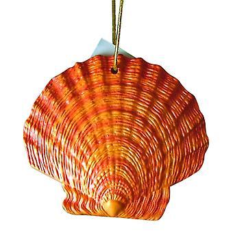 Tropical Beach Seashell Christmas Ornament Reddish Orange ORNShell07