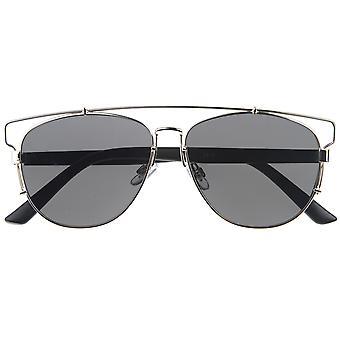 Modern Fashion volledig metalen dwarsbalk Technologic vlakke Lens Aviator zonnebril 54mm