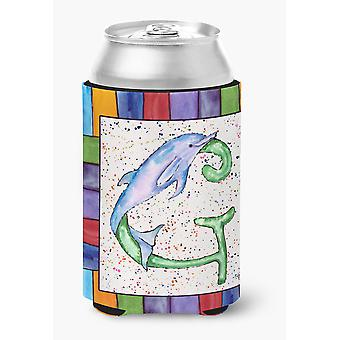 Letter G with Dolphin Can or Bottle Beverage Insulator Hugger 8430