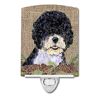 Portuguese Water Dog on Faux Burlap with Pine Cones Ceramic Night Light