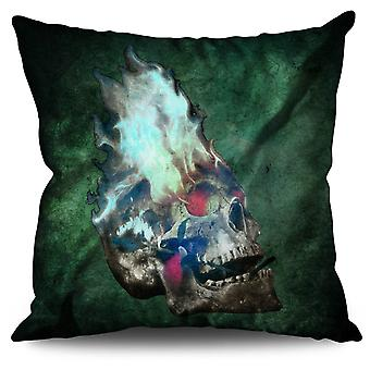Flaming Metal Rock Skull Linen Cushion 30cm x 30cm | Wellcoda