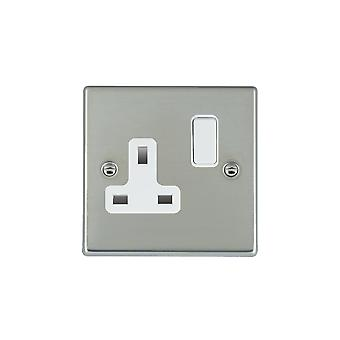 Hamilton Litestat Hartland Bright Stainless Chrome 1g 13A DP Switched Socket WH/WH