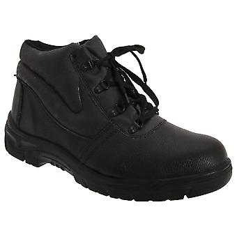 Grafters Mens Grain Leather Padded Ankle Safety Toe Cap Boots