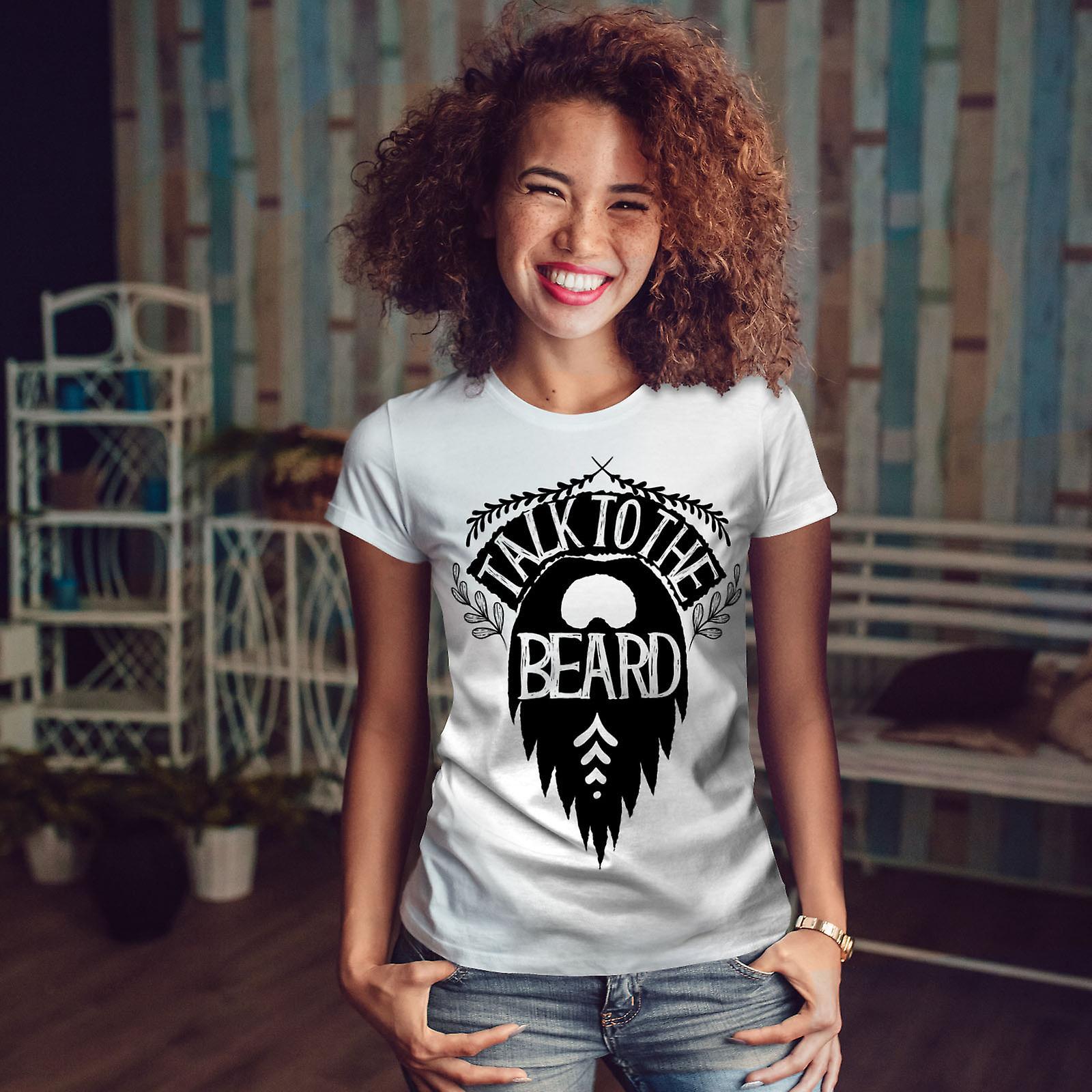 Parler de la barbe femmes Vintage WhiteT-shirt | Wellcoda