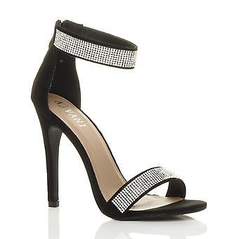 Ajvani kvinders højhælede strappy diamante knap der sandaler sko