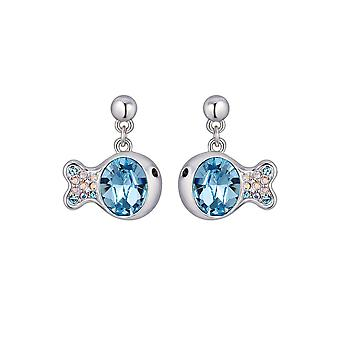 Fish earrings adorned with Blue Swarovski crystals and Rhodium Plate