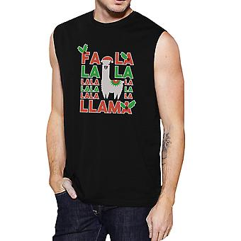 Falala Llama Mens Black Muscle T-Shirt