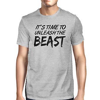 Frigøre udyret Herre grå rund hals bomuld T-Shirt sjove Workout Top