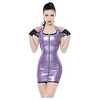 Westward Bound Simple Seduction Latex Rubber Dress. PS Lilac With Black Trim.