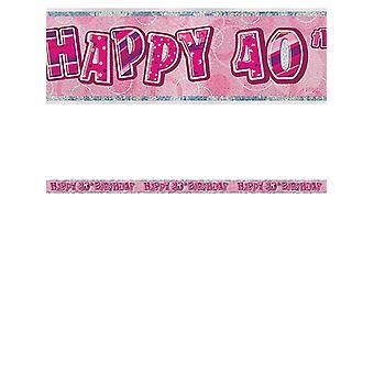 Bannière anniversaire Glitz rose 40thanniversaire prisme