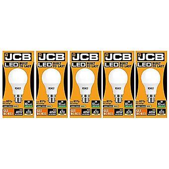 5 X JCB  6w = 40w LED GLS Opal BC/B22 3000k Warm White 6w 40W [Energy Class A+]