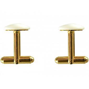 مطلي بالذهب الرجال-اكمام-12 ملم-الصدف-أبيض-