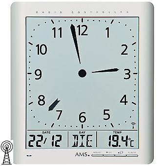 Wanduhr Tischuhr Funk digital silbern Datum Thermometer Weckfunktion