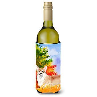 Fall Corgi Wine Bottle Beverage Insulator Hugger