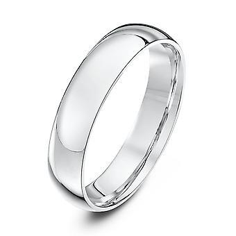 Star Wedding Rings 9ct White Gold Light Court Shape 4mm Wedding Ring