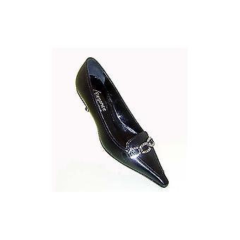 Lorbac Black Kitten Heel Court With Diamonte Bk