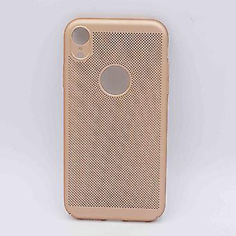 For IPhone XR case-metal wire mesh look-Gold