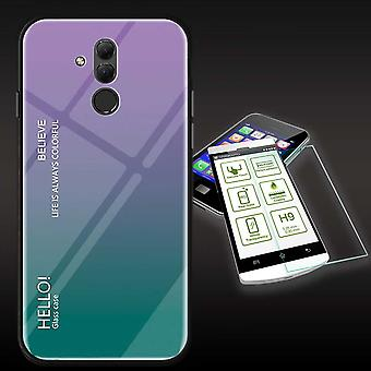 For Huawei mate 20 Lite color effect cover purple bag case + H9 hard glass protection