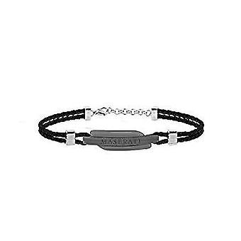 MASERATI - bracelet - men's SIGNATURE steel leather - JM417AKW08