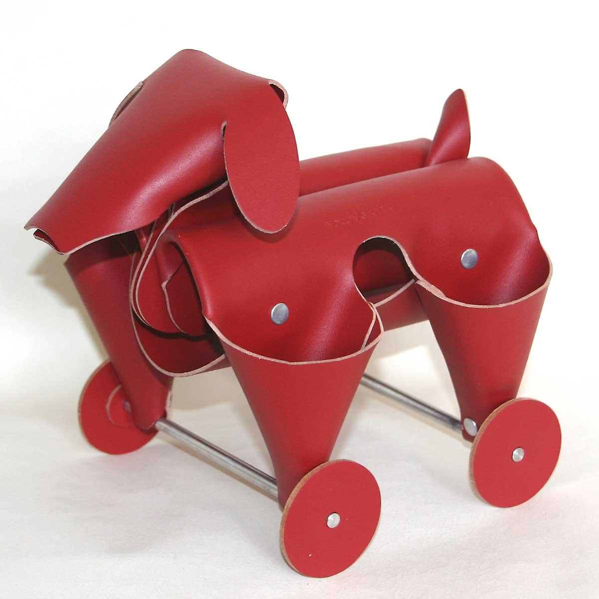Red Leather Amigos Dog Desk Tidy