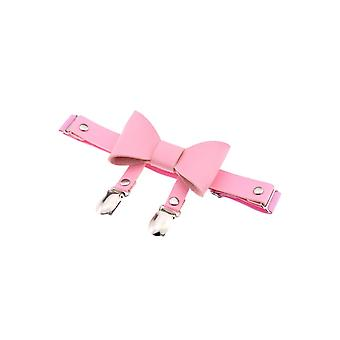 Attitude Clothing Pink Faux Leather Bow Garter