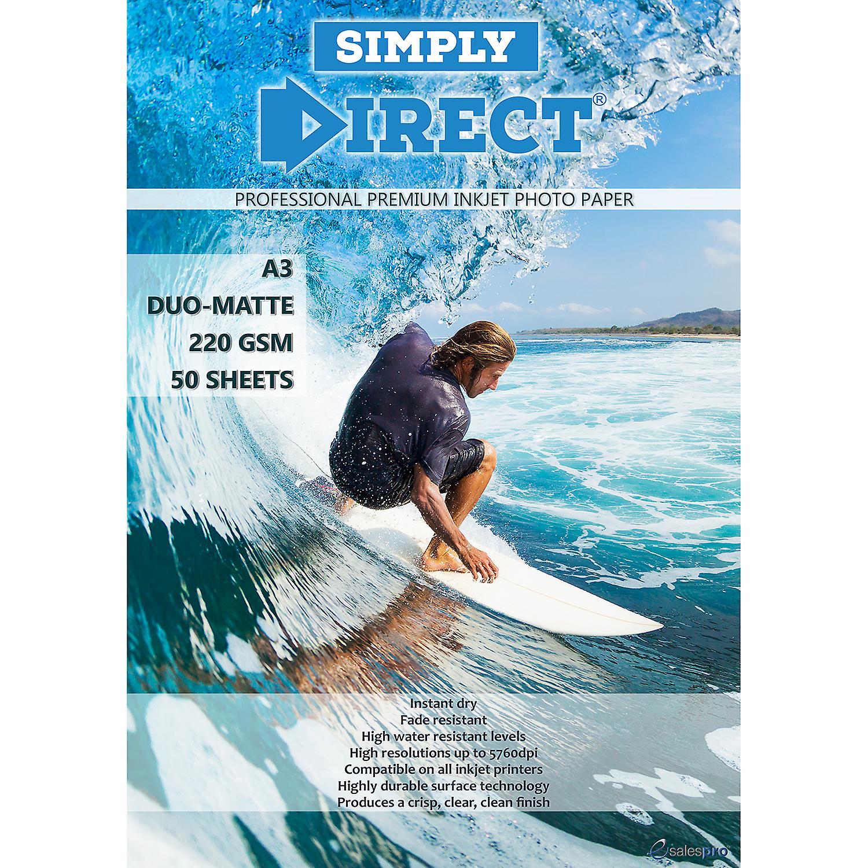 50 x Simply Direct A3 Duo Matte / Matte Inkjet Photo FSC Printing Paper - 220gsm - Professional Premium Photographic Printer Paper