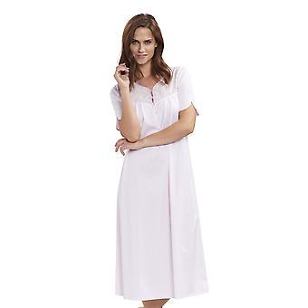 Féraud 3191365-10038 Naiset's High Class Rose Pink Cotton Kirjailtu Yöpuku Loungewear Yöpaita
