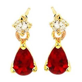 Ah! Jewellery Women's Ruby Accented with Crystal Pear Crystals From Swarovski Earrings