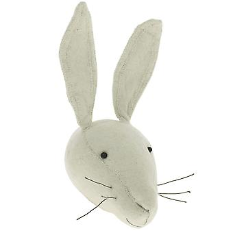 Fiona Walker England White Rabbit Felt Animal Head Wall Mounted