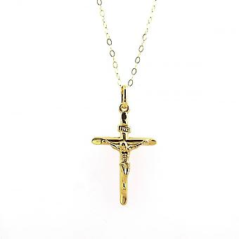 Eternity 9ct Gold Medium Hollow Backed Crucifix Pendant And 16'' Trace Chain