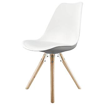 Fusion Living Eiffel Inspiré White Plastic Dining Chair with Pyramid Light Wood Legs