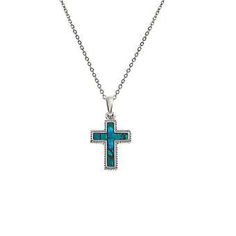 Eternal Collection Faith Blue Paua Shell Silver Tone Cross Pendant