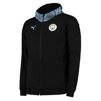2019-2020 Manchester City Puma Casuals full glidelås Hoody (svart)